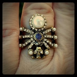 New Brass Spider Skull Ring. Size 6.50